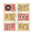 postage stamps retro music equipment theme vector image