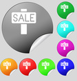 Sale price tag icon sign Set of eight multi vector image