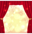 Red opened theatrical curtain vector image