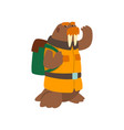 alrus travelling with backpack cute cartoon vector image vector image
