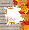 Autumn card with leaves maple wooden texture vector image