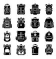 backpack icons set simple style vector image