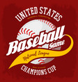 ball for american sport baseball game logo vector image