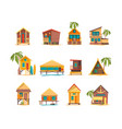 beach houses funny buildings for summer vacation vector image vector image