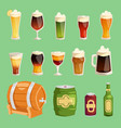 beer cartoon mug cups and glass bottles vector image