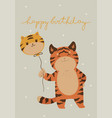 birthday card with cute tiger image vector image