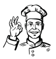 black happy chef vector image vector image