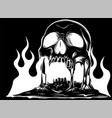 burning skull with classic tribal flames vector image