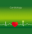cardiology green background vector image vector image