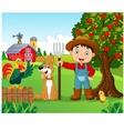 Cartoon little boy and dog in the farm vector image