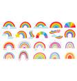 cartoon rainbow colourful rainbows heart and vector image