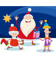 christmas design with cartoon santa claus and star vector image