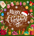 christmas gifts wreath on wooden background vector image vector image