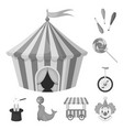 circus and attributes monochrome icons in set vector image