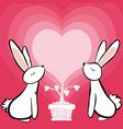 couple white rabbit feeling in love greeting card vector image