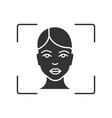 facial recognition system glyph icon vector image vector image