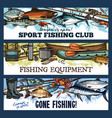 fisherman sport fishing club sketch banners vector image vector image