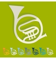 Flat design french horn vector image