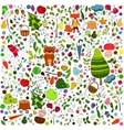 floral forest background with doodles for textile vector image