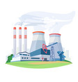 fossil fuel power station factory with vector image