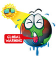 global warming with hot sun shining earth vector image vector image