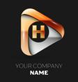 golden letter h logo in golden-silver triangle vector image vector image