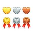 golden silver bronze hearts set love vector image vector image