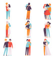 happy male and female embracing each other set vector image