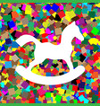 horse toy sign white icon on colorful vector image