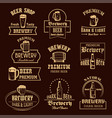 icons set for beer brewery pub or bar vector image