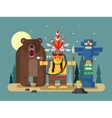 injun character with bear vector image