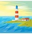 Lighthouse on Sea with Waves vector image vector image