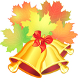 maple leaf and the school bell vector image vector image