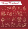 merry xmas sketch icon set vector image