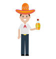 mexican man with tequila bottle character vector image