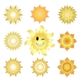 Nine icons of suns vector image vector image