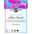 official white certificate with pink blue vector image vector image