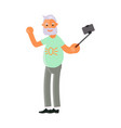 old man make selfies vector image vector image
