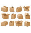open and closed cardboard boxes set vector image