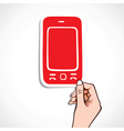 red mobile sticker on hand vector image vector image