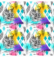 seamless pattern sketching of cat vector image vector image