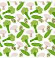 seamless pattern with mushrooms cucumber slices vector image