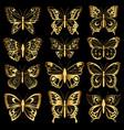 set of gold butterflies vector image vector image