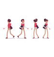 set of male and female office worker walking rear vector image vector image