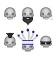 set skull emoticon vector image