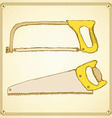 Sketch saws for wood and metal vector image vector image