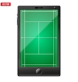smartphone with a tennis field on screen vector image vector image