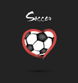 soccer ball shaped as a heart vector image vector image