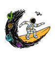 surfing in universe vector image vector image