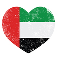 The United Arab Emirates retro heart shaped flag vector image